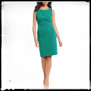 Calvin Klein Green Side Ruched Sheath Dress Size 4
